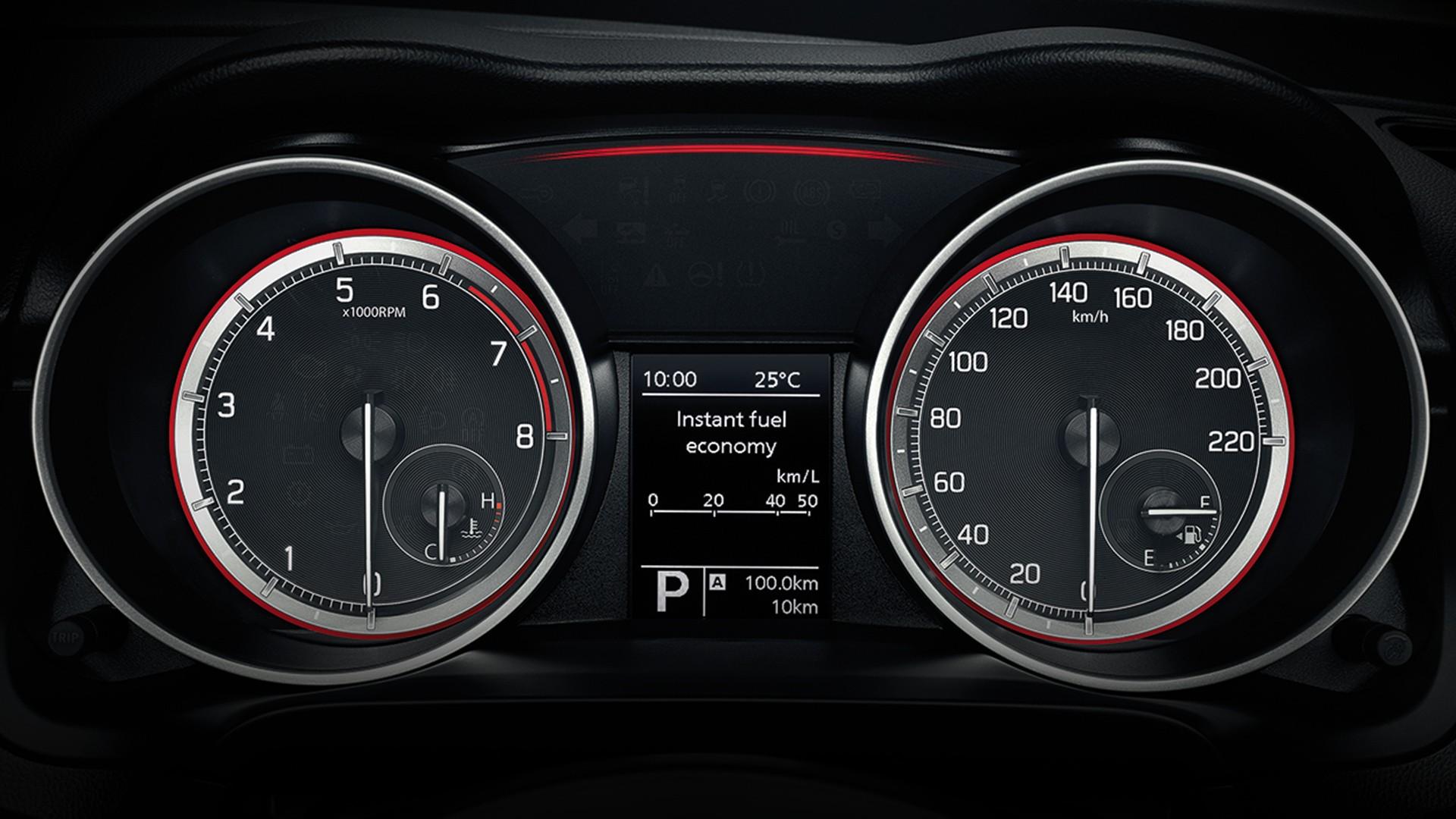 Sporty design speedometer               and tachometer